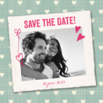 save the date kaart vintage hartjes