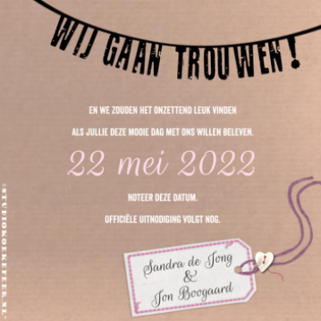 Save-the-Date kaart kraftpapier