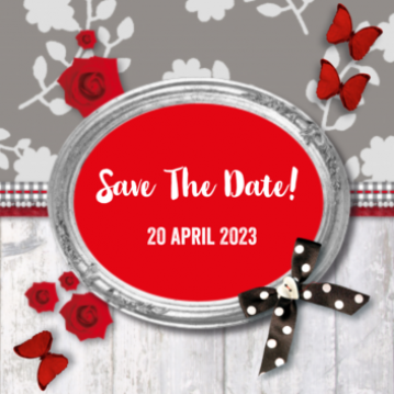 save the date kaart bloemen en hout