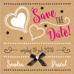 Save the date kaart kraft zwart wit hart