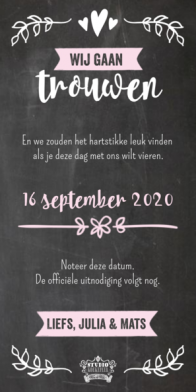 Langwerpige Save the date kaart met labeltjes