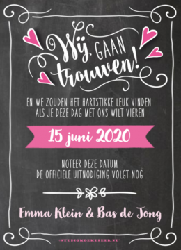 Krijtbord Save the date kaart typografie