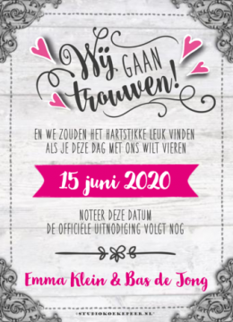 Hout Save the date kaart typografie